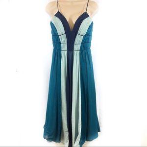 Max and Cleo 100% silk striped dress blue